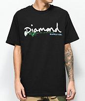 Diamond Supply Co. Floral Gem Script camiseta negra