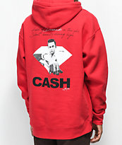 Diamond Supply Co. X Johnny Cash Diamonds In The Sky sudadera roja con capucha