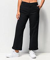 Dickies Roll Hem Black Cropped Work Pants