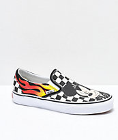 Disney by Vans Slip-On Mickey & Minnie Checkerboard Flame Skate Shoes