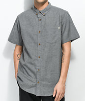 Dravus Alvin Jasper Heather Grey Short Sleeve Button Up Shirt