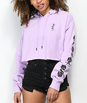 Empyre Ariana Daisy Orchid Crop Hoodie