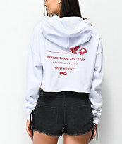 Empyre Ariana Rose White Crop Hoodie