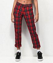 Empyre Caelie pantalones de tartán rojo