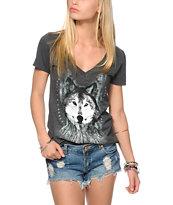 Empyre Dream Catcher Wolf Charcoal V-Neck T-Shirt