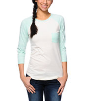 Empyre Georgina Tribal Mint & Cream Baseball Tee