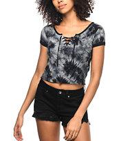 Empyre Hawn camiseta con cordón con efecto tie dye en negro