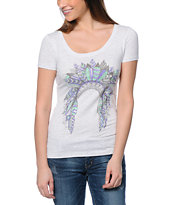 Empyre Head Dress Up Heather White Scoop Neck Tee Shirt