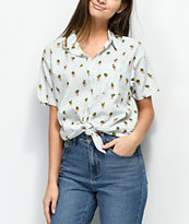 Empyre Hilo Cactus Stripe Short Sleeve Button Up Shirt