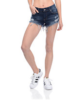 Empyre Jenna Dark Wash Destructed Shorts