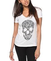 Empyre Lace Skull V-Neck T-Shirt