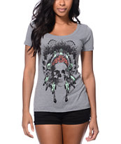 Empyre Made Of Skull Grey Scoop Neck Tee Shirt