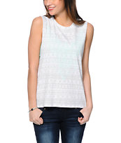 Empyre Mitzi Eagle Grey & White Aztec Print Muscle Tee Shirt