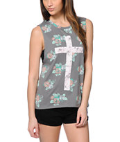 Empyre Mitzi Floral Cross Grey Muscle Tee Shirt
