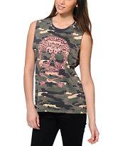 Empyre Mitzi Skull Camo Print Muscle T-Shirt