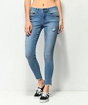 Empyre Tessa Bright Ocean Frayed Skinny Jeans