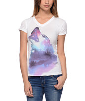 Empyre Wolfy White V-Neck T-Shirt