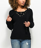 Ethos Carlee Black Hooded Lace Up Sweater