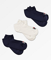 FILA 3 Pack Box Logo No Show Socks