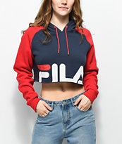 FILA Luciana sudadera con capucha azul marino y rojo