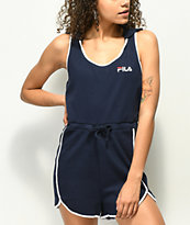FILA Malibu Navy Ribbed Hooded Romper