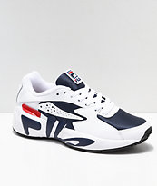 FILA Mindblower White, Navy, Red Leather & Mesh Shoes