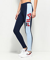 FILA Side Stripe Navy & Light Blue Leggings