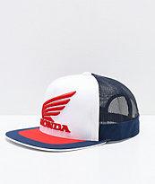 Fox x Honda gorra de camionero blanca, roja y azul