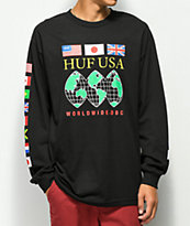 HUF Global Domination camiseta negra de manga larga