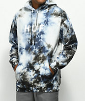 HUF OG Logo sudadera con capucha azul con efecto tie dye