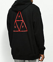 HUF Triple Triangle Over sudadera con capucha negra