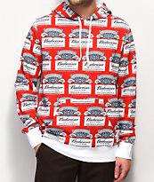 HUF x Budweiser Label sudadera con capucha roja y blanca