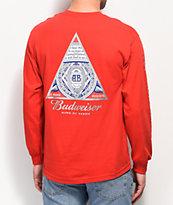 HUF x Budweiser Triangle camiseta roja de manga larga
