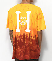 HUF x Spitfire Classic H camiseta roja de con efecto tie dye
