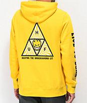 HUF x Spitfire Triangle sudadera con capucha amarilla