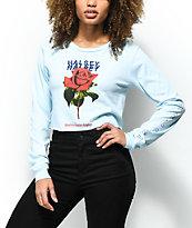 Halsey Rose camiseta corta de manga larga en azul claro