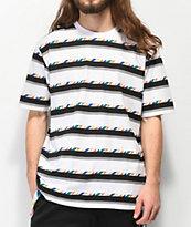 LRG Andrade camiseta blanca, negra y gris de rayas
