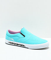Lakai x Leon Karssen Owen VLK Blue & White Slip-On Skate Shoes