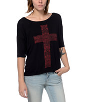 Lira Cross Black Scoop Neck Tee Shirt