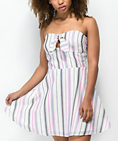 Love, Fire Alyssa Stripe White Strapless Dress