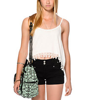 Love, Fire Cream Crochet Trim Crop Tank Top