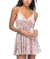 Love, Fire Mauve Crushed Velvet Wrap Dress
