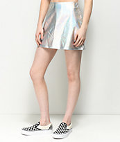 Love, Fire Metallic Silver Mini Skirt