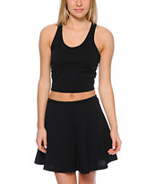 Lunachix Black Textured Crop Tank Top