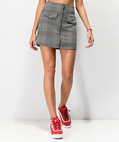 Lunachix Gingham Zip Black & White Mini Skirt