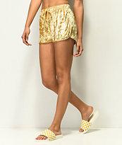 Lunachix Gold Crushed Velvet Shorts