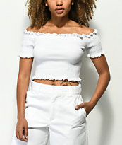 Lunachix Lizzie Off The Shoulder White Smocked Crop Top