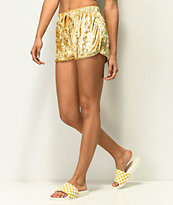 Lunachix Shorts de terciopelo dorado
