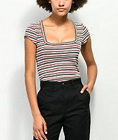 Lunachix Square Neck Multi Stripe T-Shirt