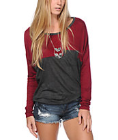 Lunachix Tori Burgundy & Charcoal Long Sleeve Top